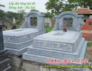 Lắp đặt lăng mộ đá xanh Ninh Bình tại Cổ Loa Hà Nội