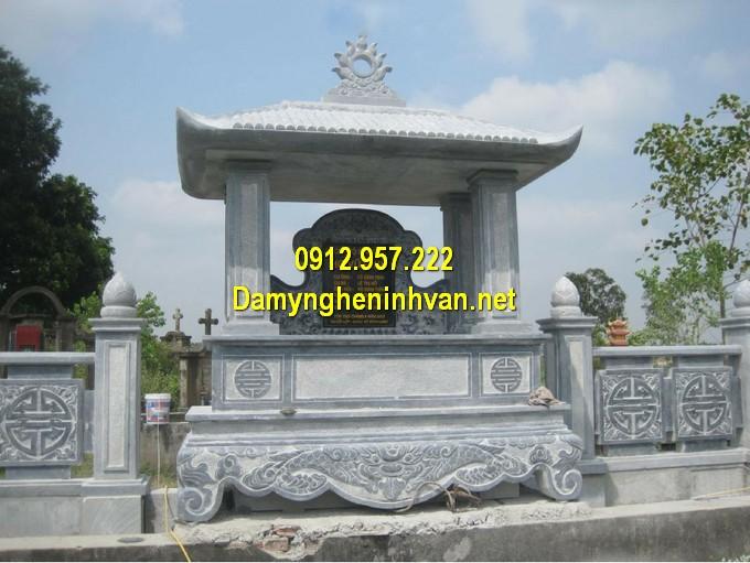 Lăng mộ đá một mái chạm khắc thủ công, hợp phong thuỷ