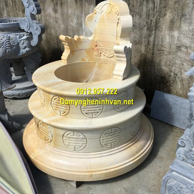 Lăng mộ tròn bằng đá vàng kích thước lỗ ban, hợp phong thuỷ