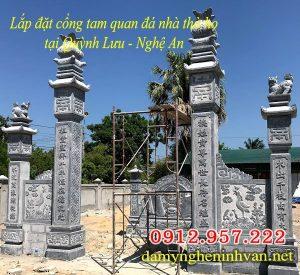 Mẫu cổng nhà thờ họ từ đường đẹp, Cổng nhà thờ họ đẹp bằng đá,