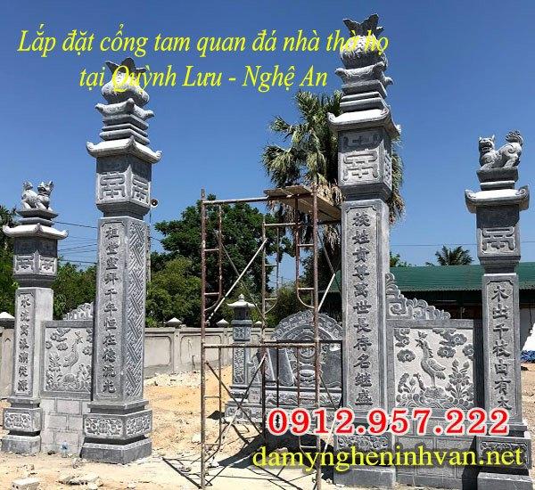 Lắp đặt cổng đá nhà thờ họ tại Quỳnh Lưu Nghệ An