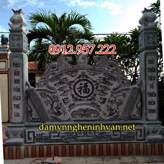 Bức bình phong lăng mộ bằng đá đẹp - Bình phong trước mộ