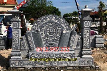 Bức bình phong cuốn thư đá lăng mộ đẹp