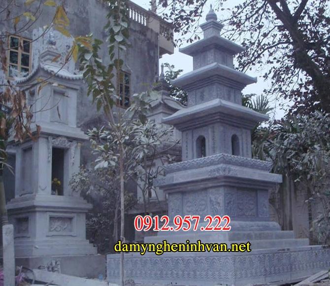 Các mẫu mộ đá tháp phật giáo đẹp nguyên khối-04