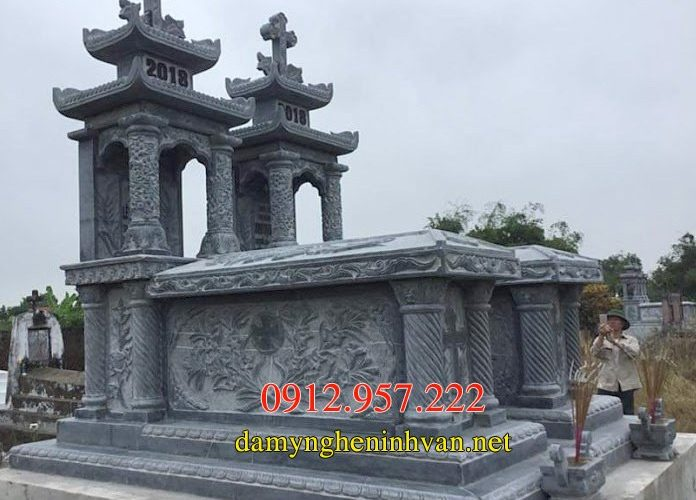 Xây mẫu mộ đá công giáo đẹp hiện đại nhất 04