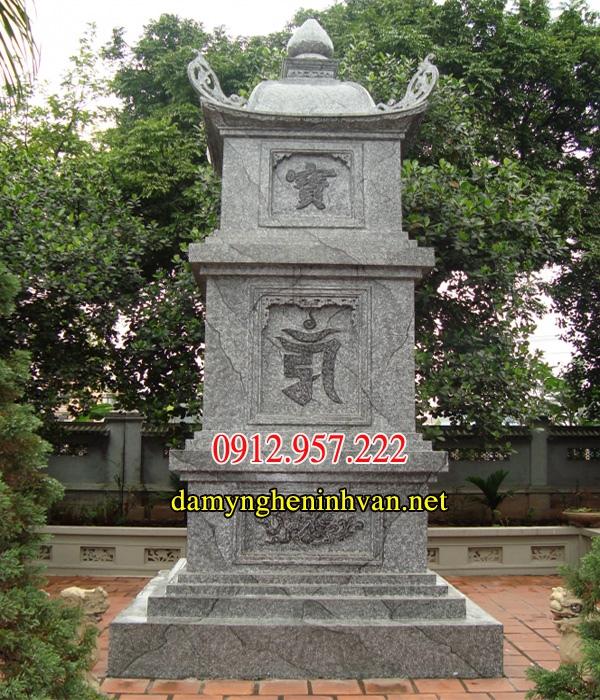Xây mộ tháp bằng đá xanh nguyên khối 01