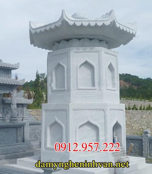mẫu mộ đá tháp phật giáo đẹp nguyên khối