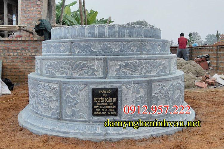 Xây mộ tròn đá đẹp kích thước chuẩn phong thủy