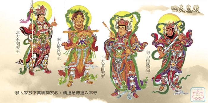 Tứ đại thiên vương tranh vẽ