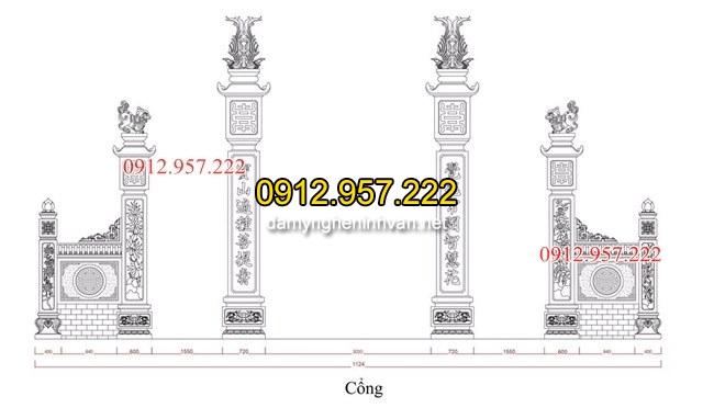 Kich thước cổng đá nhà thờ họ tại Hà TĨnh