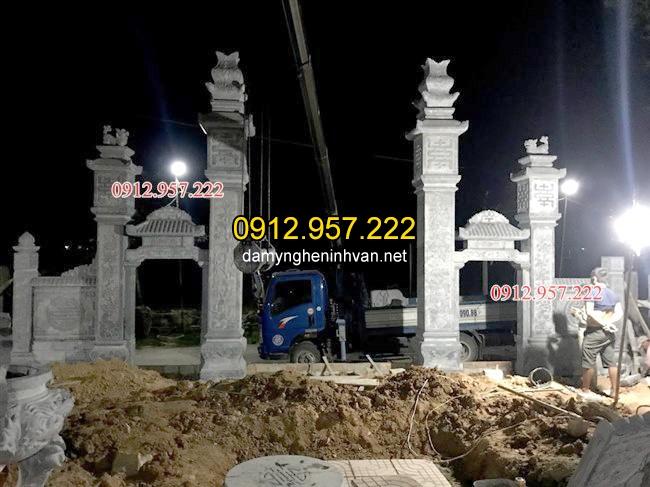 Hình ảnh lắp đặt mẫu cổng đá nhà thờ họ đẹp tại Hà Tĩnh