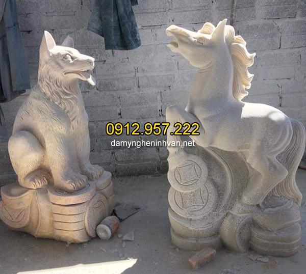 Tượng chó đá linh vật phong thủy đẹp nhất chất lượng cao giá hợp lý