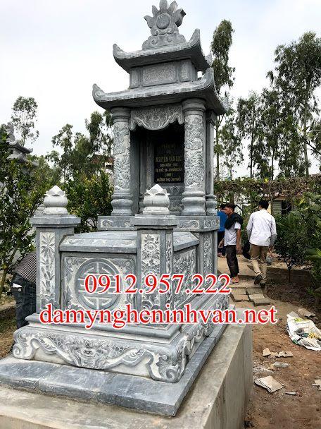 Mộ đá đẹp hai mái Bắc Giang MBG02, mộ đá bắc giang