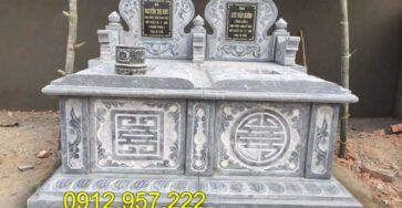 Các kiểu mộ đá đẹp - Mộ đá xanh nguyên khối đẹp