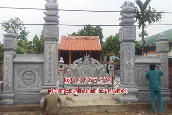 Làm cổng đá nhà thờ họ đẹp tại Hưng Yên