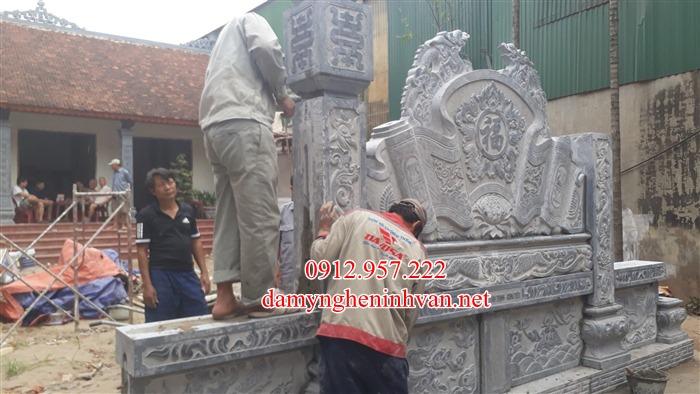 Lắp đặt cuốn thư đá nhà thờ họ phan Hà Nội