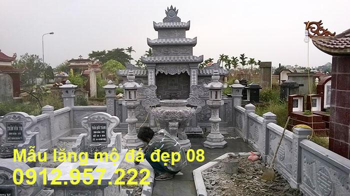 Mẫu lăng mộ đá đẹp được chế tác từ đá xanh tự nhiên 08