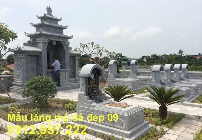 Mẫu lăng mộ đá đẹp được chế tác từ đá xanh tự nhiên 09