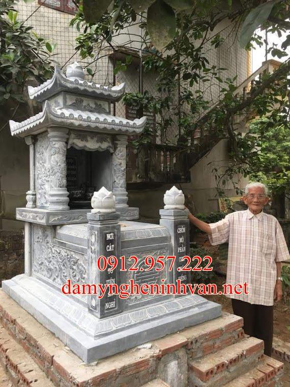Làm mẫu mộ đá xanh đẹp hai mái tại Thái Bình
