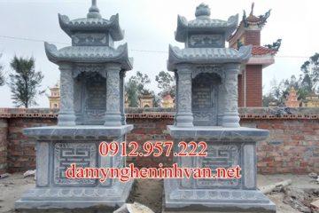 Mẫu mộ đá xanh khối tự nhiên hai mái tại Đà Nẵng