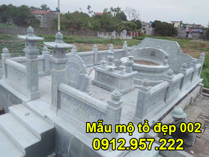 Mẫu mộ tổ bằng đá xanh tự nhiên đẹp nhất 002