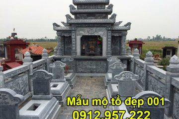 Mẫu mộ tổ bằng đá xanh tự nhiên đẹp nhất tại Ninh Vân Ninh Bình