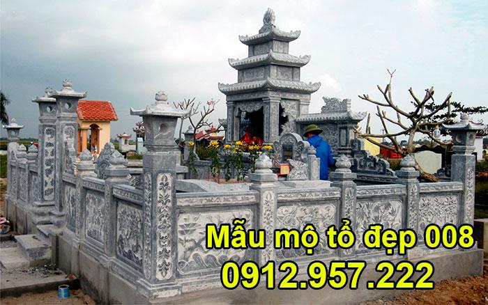 Mẫu mộ tổ bằng đá xanh tự nhiên đẹp nhất 008
