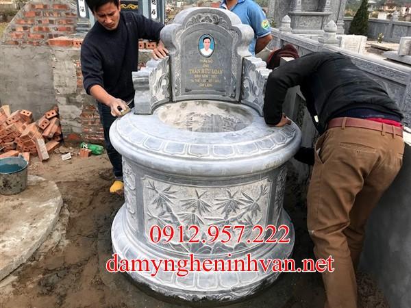 Mẫu mộ tròn đẹp xây tại Vĩnh Phúc; Mộ đá tròn Vĩnh Phúc