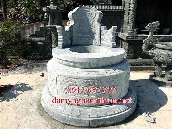 Mẫu mộ tròn đá xanh rêu đẹp Nam Định, mộ đá tròn Nam Định