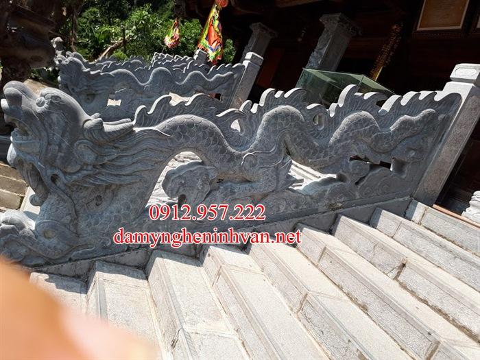 Rồng đá bậc tam cấp nhà thờ họ từ đường đẹp RD01
