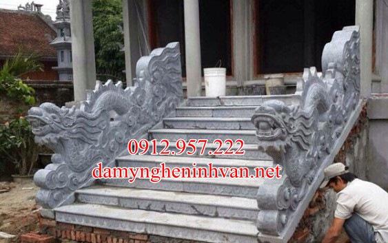 Rồng đá bậc tam cấp nhà thờ họ từ đường đẹp RD02