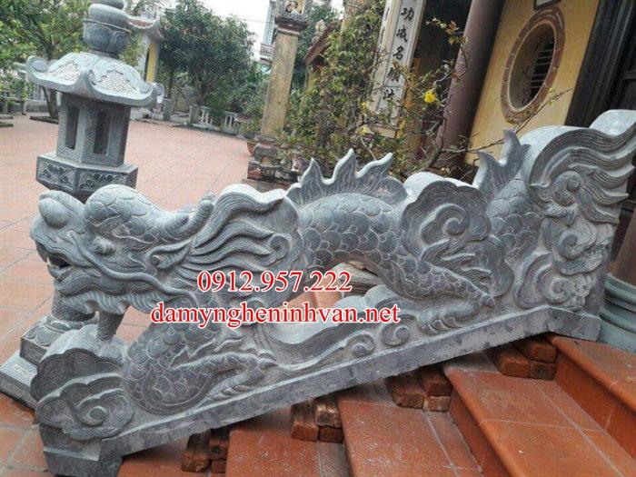 Rồng đá bậc tam cấp nhà thờ họ từ đường đẹp RD05