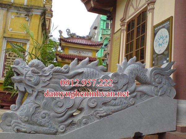 Rồng đá bậc tam cấp nhà thờ họ từ đường đẹp RD08