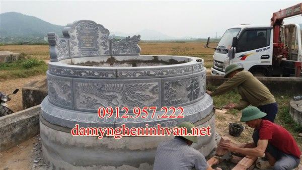 Xây mộ tròn đẹp đá xanh tại Hưng Yên
