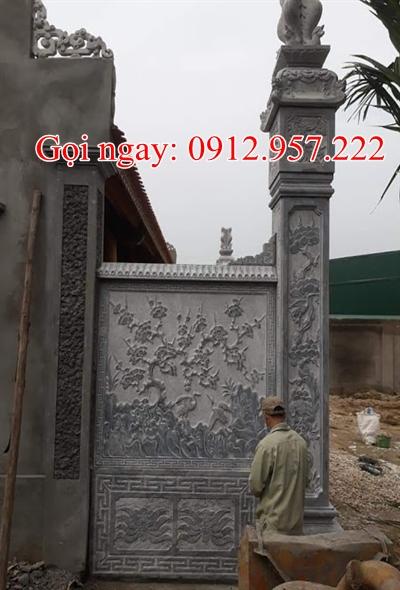 Cột đồng trụ nhà thờ họ đẹp Bằng đá xanh đen -CDT13