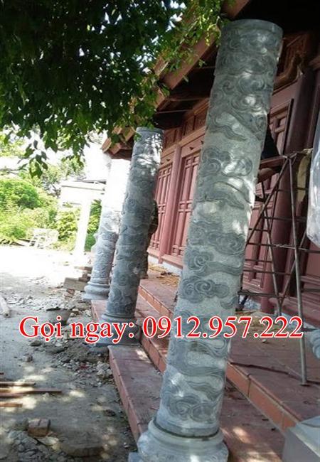 Cột hiên đình chùa băng đá hình tròn CHD06, Mẫu cột hiên đá nhà chùa