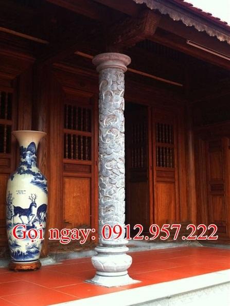 Cột hiên bằng đá hình tròn nhà thờ họ đình chùa CDH03, Cột hiên hình tròn bằng đá