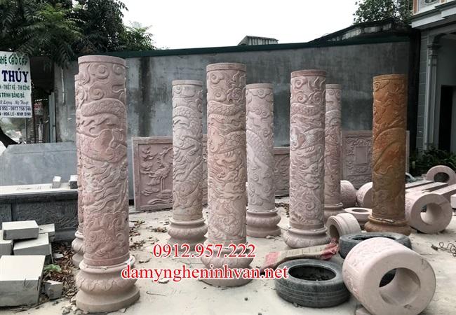 Cột trụ đá vang được điêu khắc rồng cực đẹp