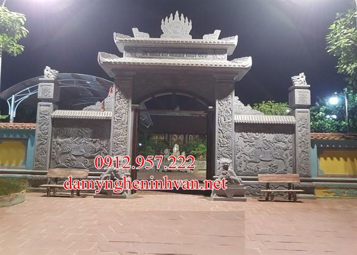 Cổng chùa đẹp bằng đá xanh đen tự nhiên Vĩnh Phúc VP05, Cổng đá Vĩnh Phúc, Cổng chùa đẹp tại Vĩnh Phúc