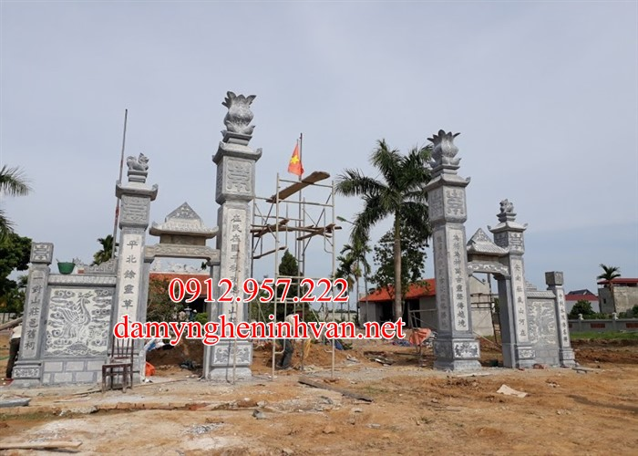 Cổng đình bằng đá đẹp tại Quảng Ninh QN07, Cổng đình bằng đá Quảng Ninh; Cổng làng bằng đá Quảng Ninh; Cổng Đền bằng đá Quảng NInh, Cổng chùa đẹp quảng Ninh ;