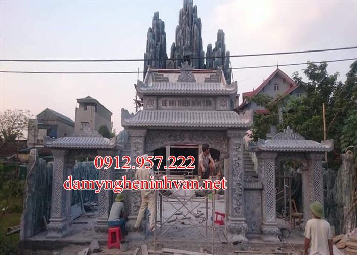 Cổng tam quan chùa băng đá xanh tại Vĩnh Phúc VP02