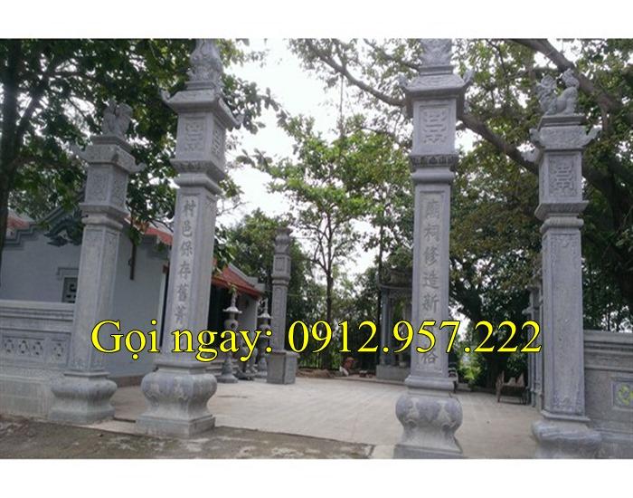 Mẫu cổng chùa tam quan tứ trụ bằng đá mang nét đẹp cổ kính 02