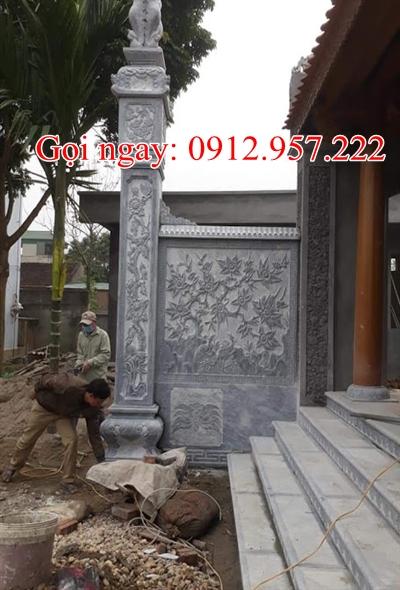 Mẫu cột đồng trụ đá đẹp chạm khắc hao văn tứ quý đẹp - CDT02