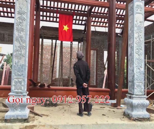 Mẫu cột hiên bằng đá hình vuông tròn nhà thờ họ đình chùa