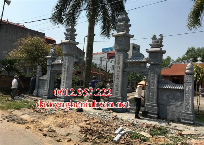 Xây cổng đình đẹp bằng đá xanh khối tại Thái Bình, Cổng đá thái Bình, Cổng đình thái Bình, Cổng đền bằng đá thái Bình