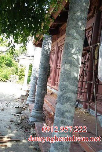 Cột đá nhà thờ họ ngoài hiên hình tròn - CD09
