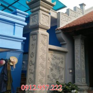 Cột đá đồng trụ - Giá mẫu cột đá đồng trụ nhà thờ họ đẹp