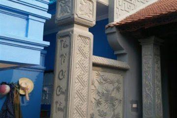 cột đồng trụ đá hình vuông đẹp bằng đá xanh đen