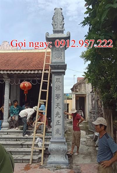 cột đồng trụ đá nhà thờ họ chạm khắc câu đối chữ nho - CDT01