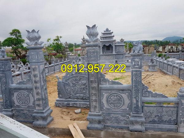 Mẫu cột cổng bằng đá xanh cho khu mộ